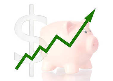 green diagram upwards with dollar symbol and piggy bank