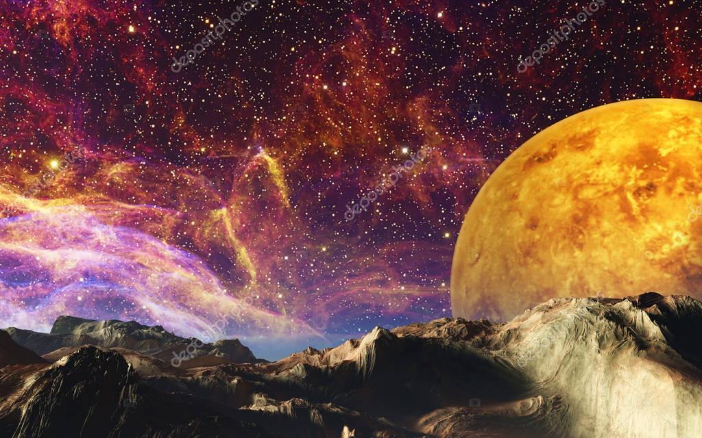 Cosmic theme 3d illustration