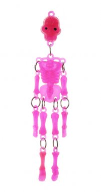 Isolated Pink Transparent Toy Skeleton close up shot