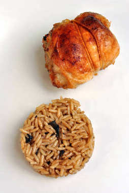 Mushroom with Rice and Roasted Delicious Chicken
