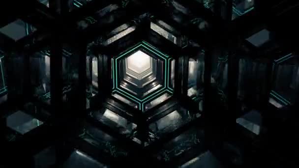 Soyut Altıgen Karanlık Tunne Techno Uzay Tüneli Sonsuz Animasyon