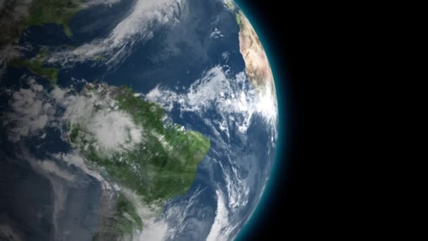 Kolemjdoucí krásné rotující planety země a pomalu se vzdalovala s hvězdami v prostoru. Full Hd záběry. Prvky tohoto 3d animace jsou podle Nasa.