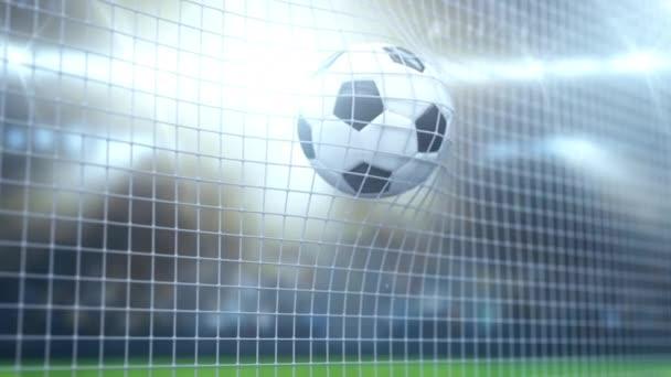 Der Ball fliegt ins Tor. Nahaufnahme. Hintergrund für die Präsentation von Sportspielen. 3D-Grafiken. 3D-Darstellung