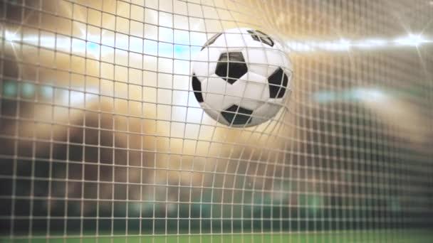 Ein Ball in den Lichtstrahlen fliegt in Zeitlupe in das Tor. 3D-Animation des Moments eines Fußballtores. Sportkonzept. 3 d rendern.