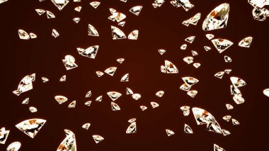 Crystals fall on an orange background. Background for advertising. 3d render