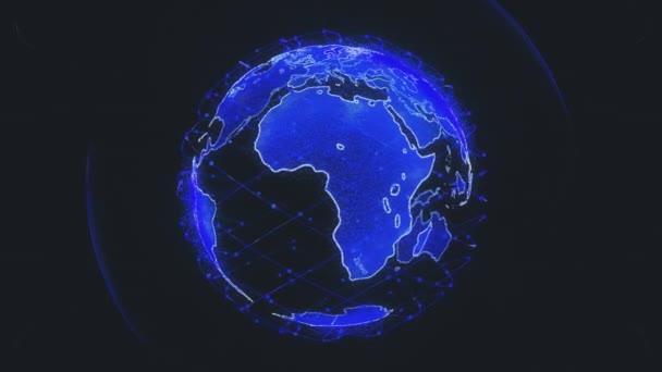 bezdrátové připojení k internetu pomocí globálního systému telekomunikačních družic v 3D vykreslování koncepce animace na černém pozadí v 4K