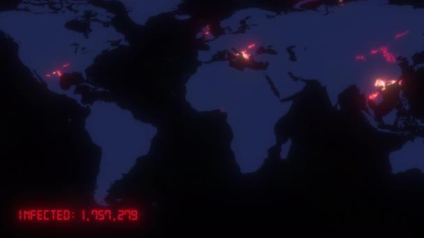 Animovaná mapa šíření koronaviru COVID 19 pandemie z wuhanu v Číně po celém světě. Tmavá mapa s oranžovými barevnými městy se statistickými daty. 3D vykreslování koncept pozadí ve 4K.
