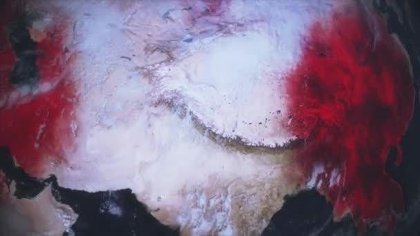 Animierte pandemische Weltkarte der Verbreitung des Coronavirus covid 19. Karte des dunklen Festlandes mit orangefarbenen Stadtsymbolen mit Epidemiestatistiken. 3D-Rendering Hintergrund 4K-Video.