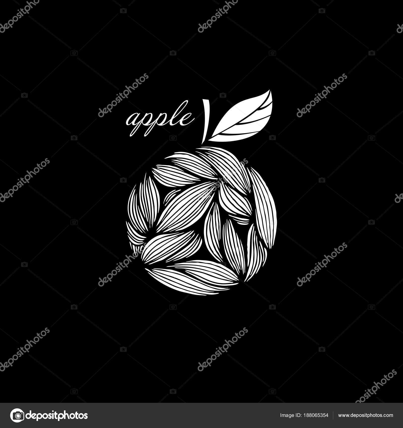 Disegno Astratto Di Una Mela Su Sfondo Nero Bianco Vettoriali