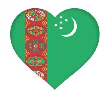 Flag of  Turkmenistan Heart.