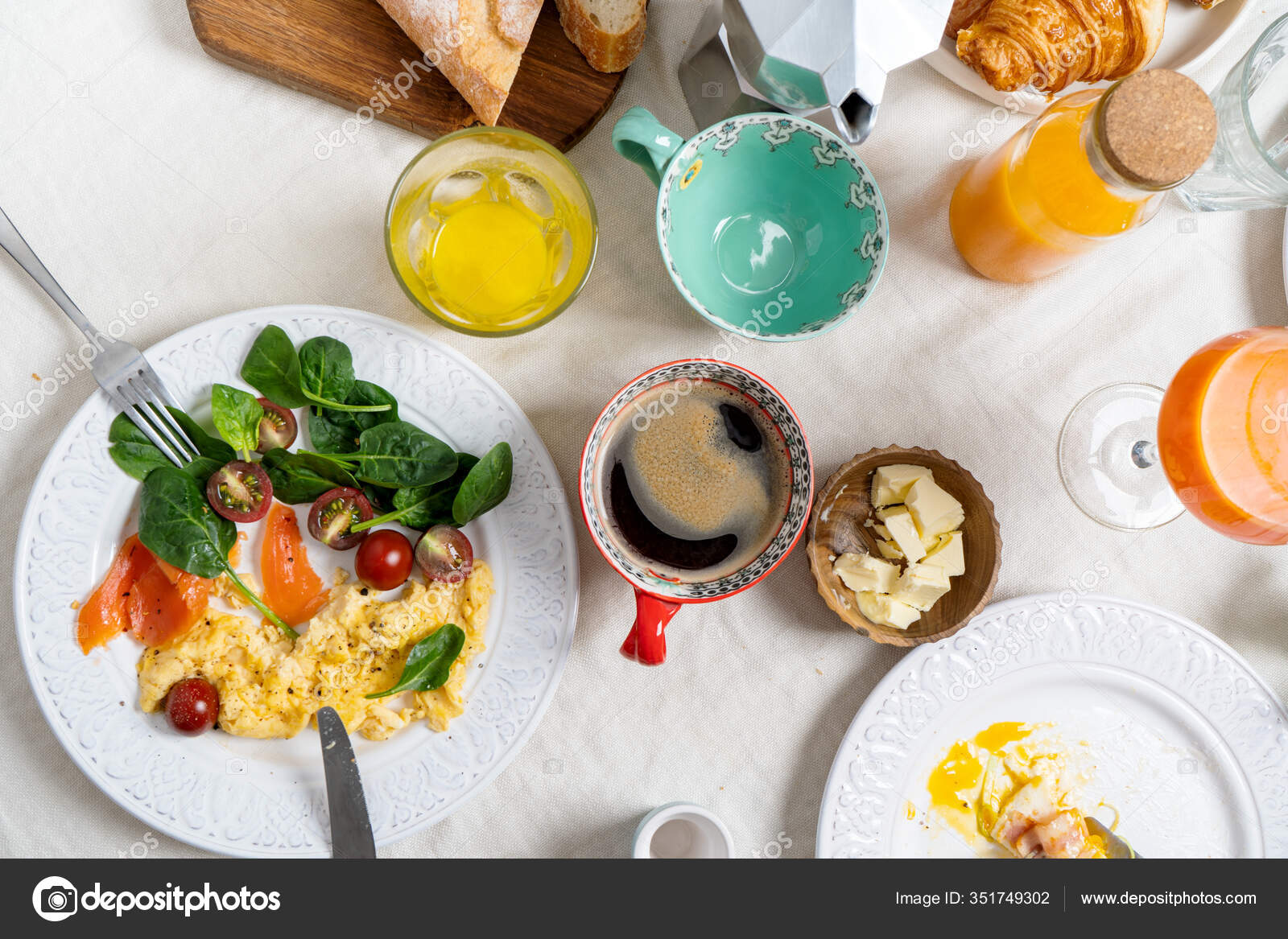 Healthy Breakfast Different Cooked Eggs Coffee Flat Lay Plates Food Stock Photo C Pinkasevich 351749302