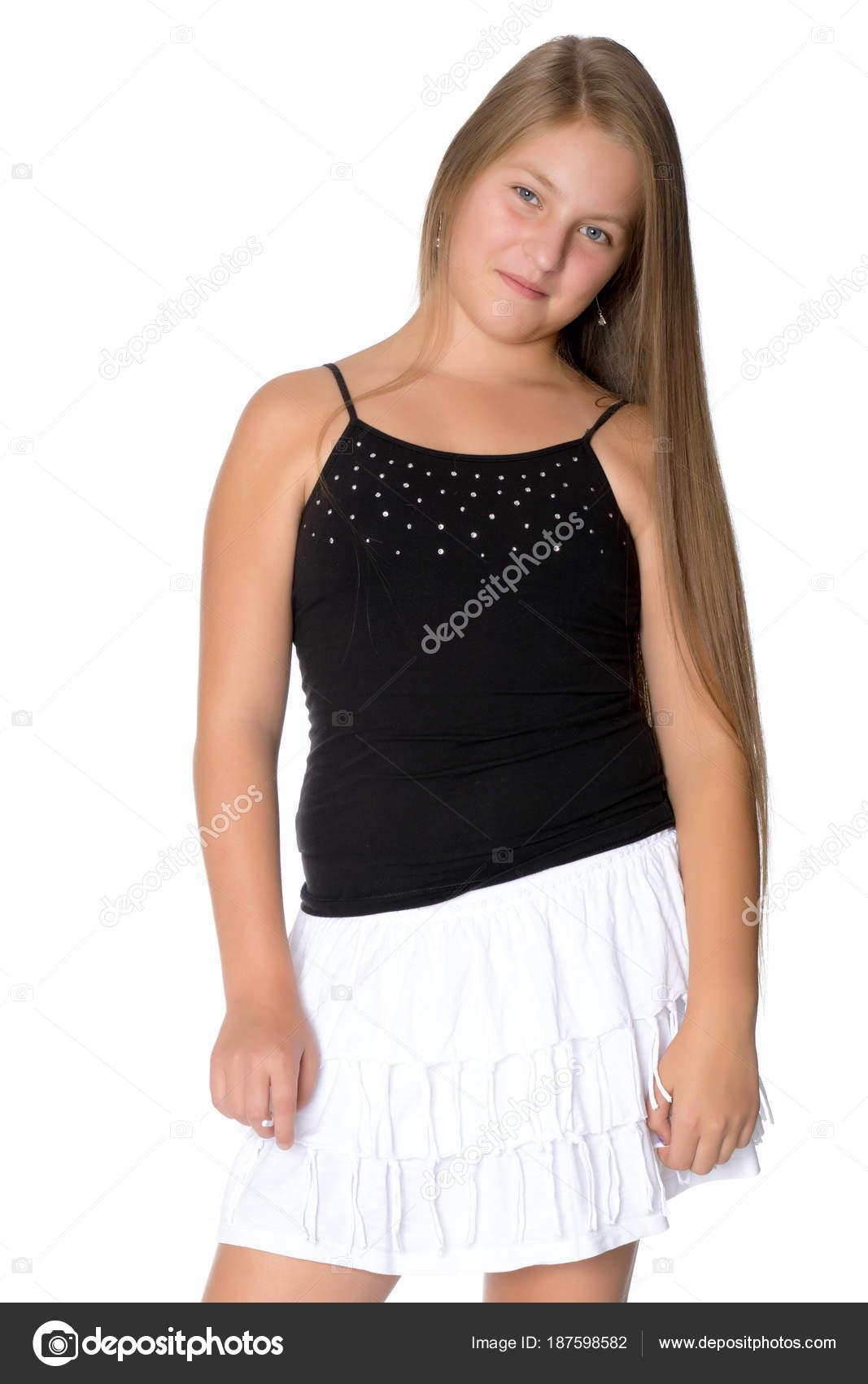 A teenage girl in a short dress. — Stock Photo © lotosfoto1  187598582 0b607dd9e9c2