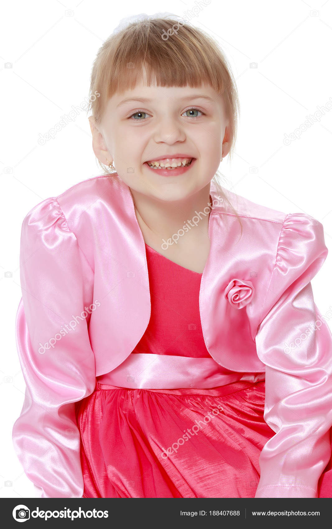 444776e2bbf Little blonde girl in red dress. — Stock Photo © lotosfoto1  188407688