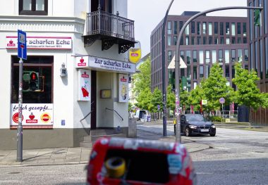 Reeperbahn in the city of Hamburg Germany Europe the entertainment district in the district of St. Pauli one day after the G20 summit, taken on 11 July 2017