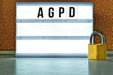Card illuminated with AGPD (regolamento generale sulla protezione dei dati) in English GDPR (General Data Protection Regulation)