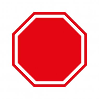 Blank Stop Sign Red Icon vector Illustration