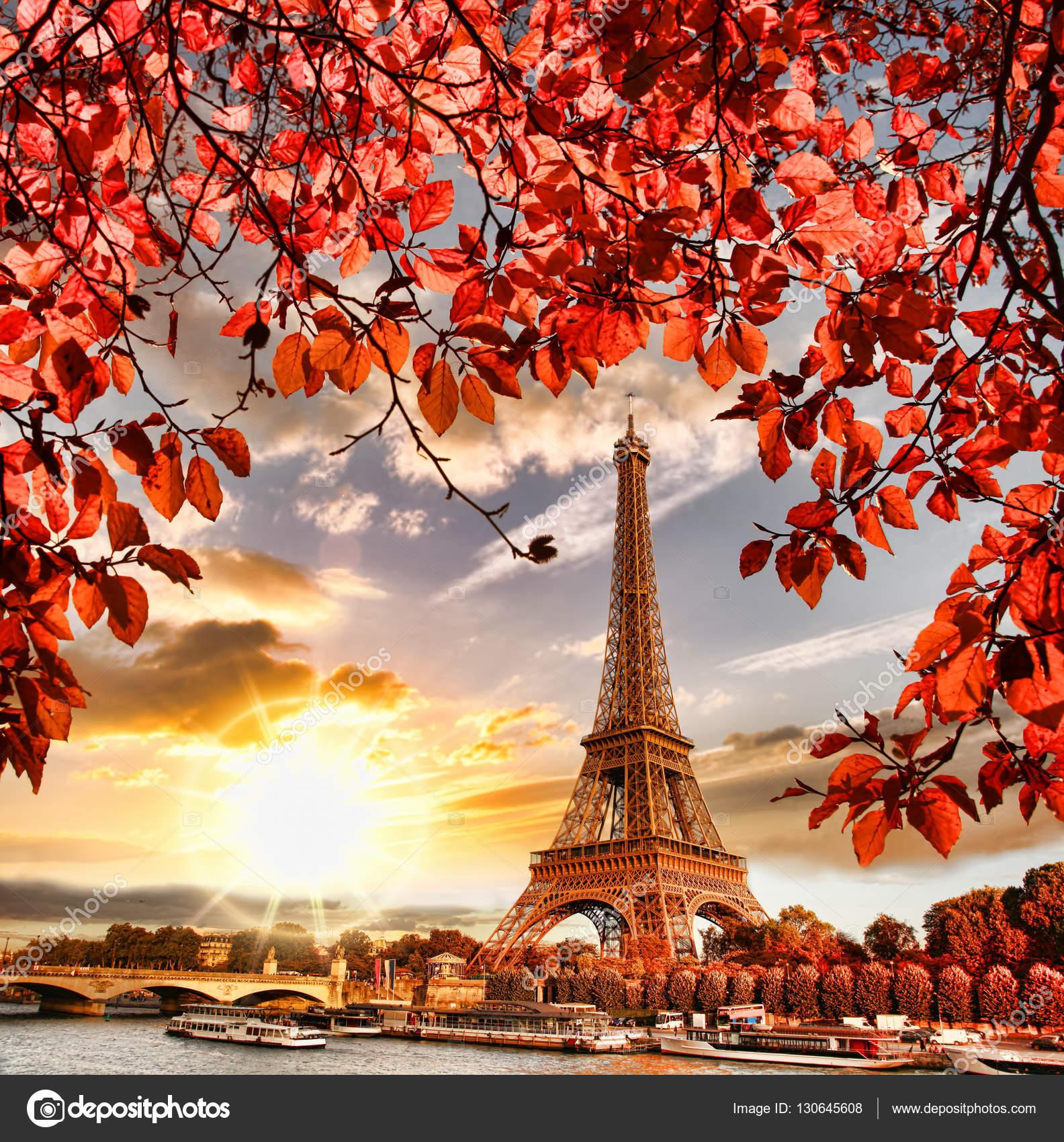 Sale de la torre eiffel con oto o en par s francia foto - Descargar autumn leaves ...