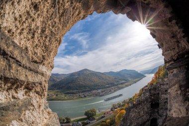 Landscape of Wachau valley, Spitz village with Danube river in Austria.