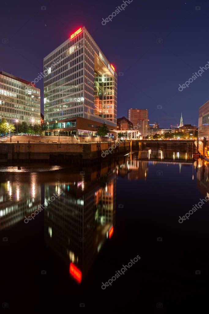 Spiegel Building in Hafencity, Hamburg, Germany at Night. Taken