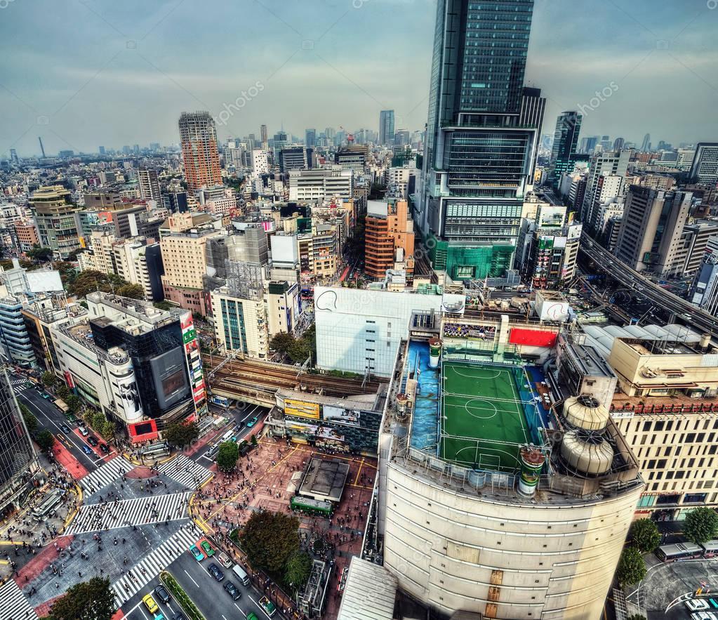 Shibuya Crossing Aerial, Tokyo Japan