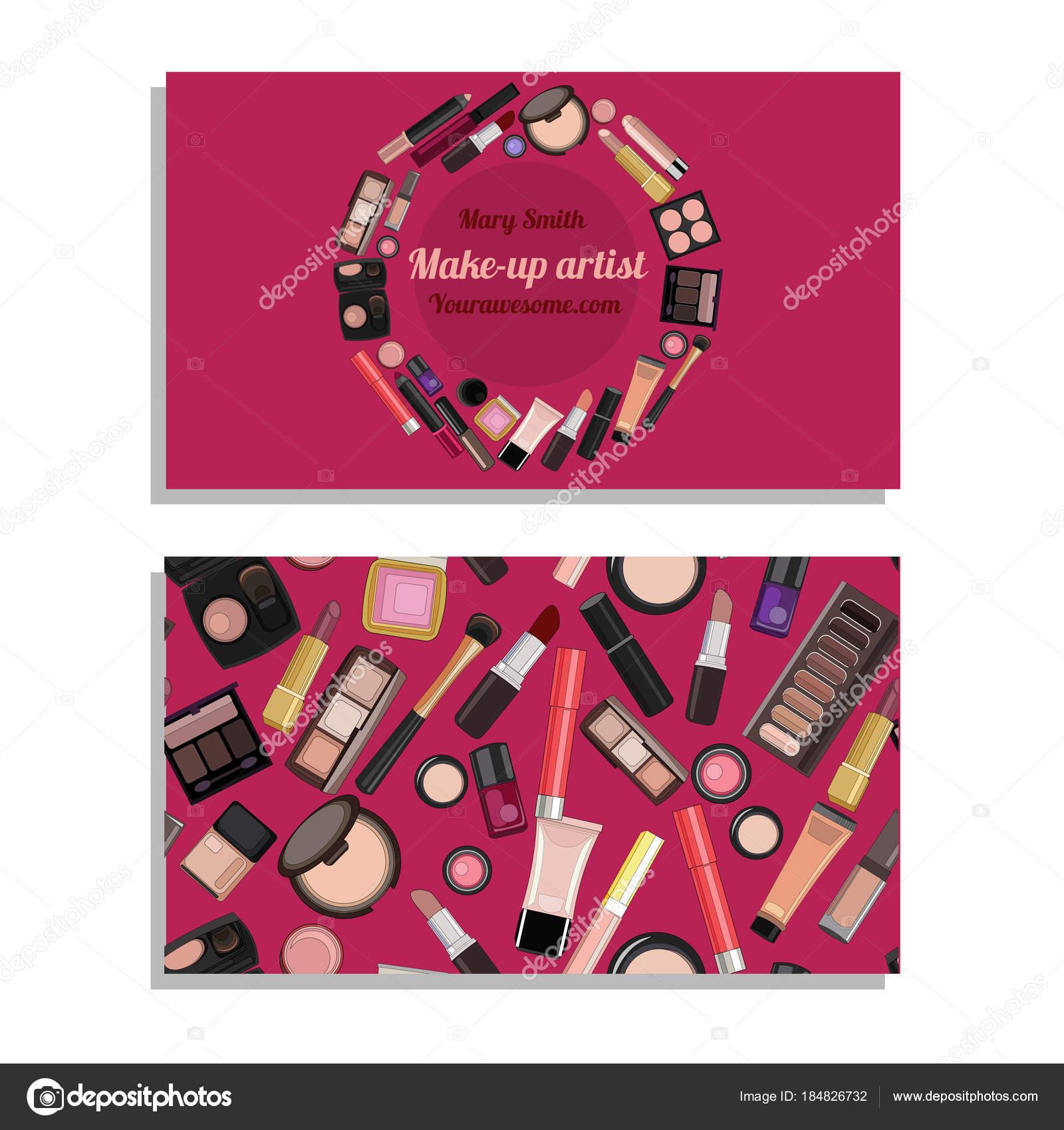 Identite Du Modele Carte De Visite Dartiste Maquilleur Salon Beaute Illustration Stock