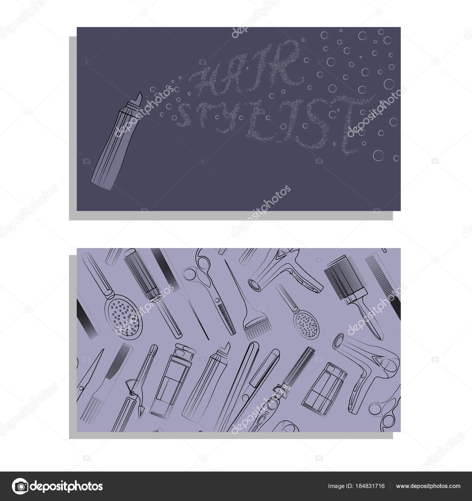 Carte De Visite Pour Salon Coiffure Texte Et Modele Illustration Stock