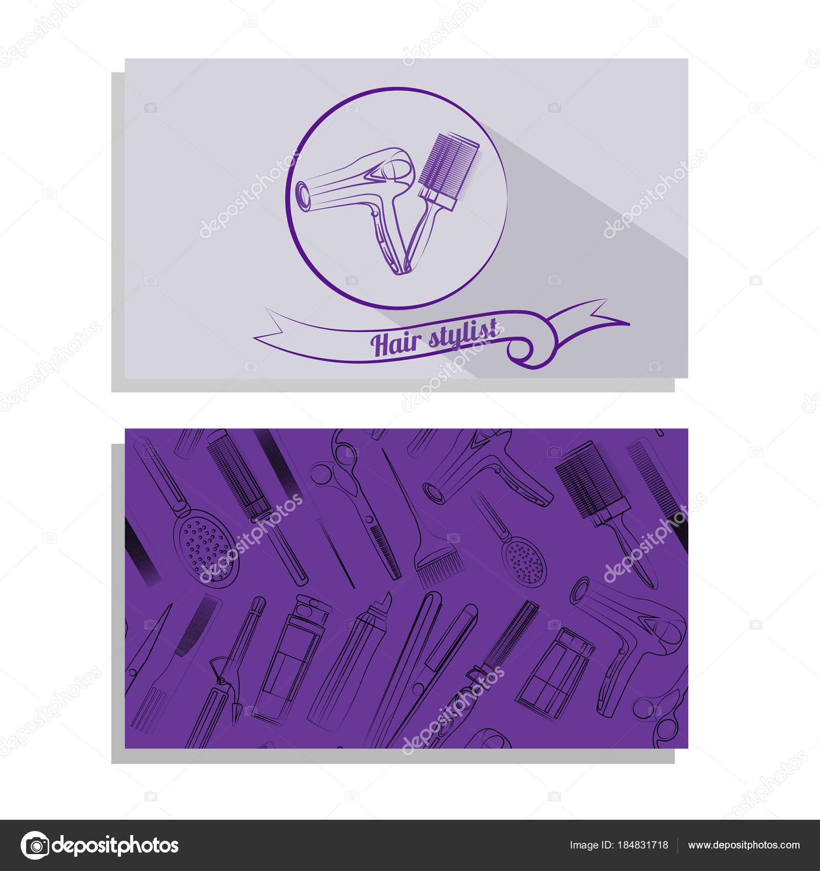 Carte De Visite Pour Salon Coiffure Logo Et Motif Vecteur Par Ollimay
