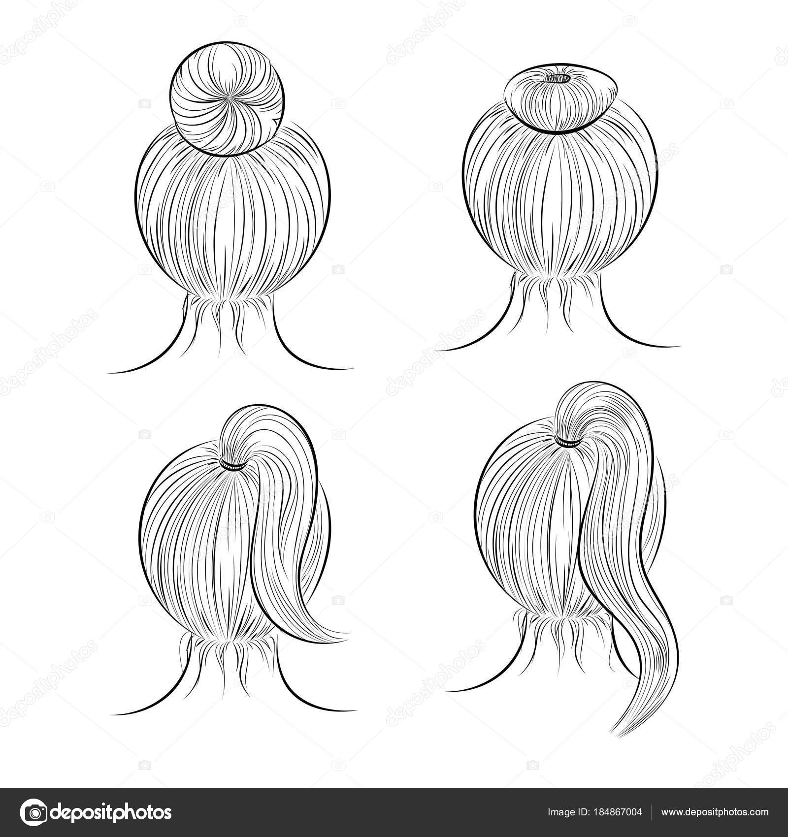 Sketch hairstyles stock vector