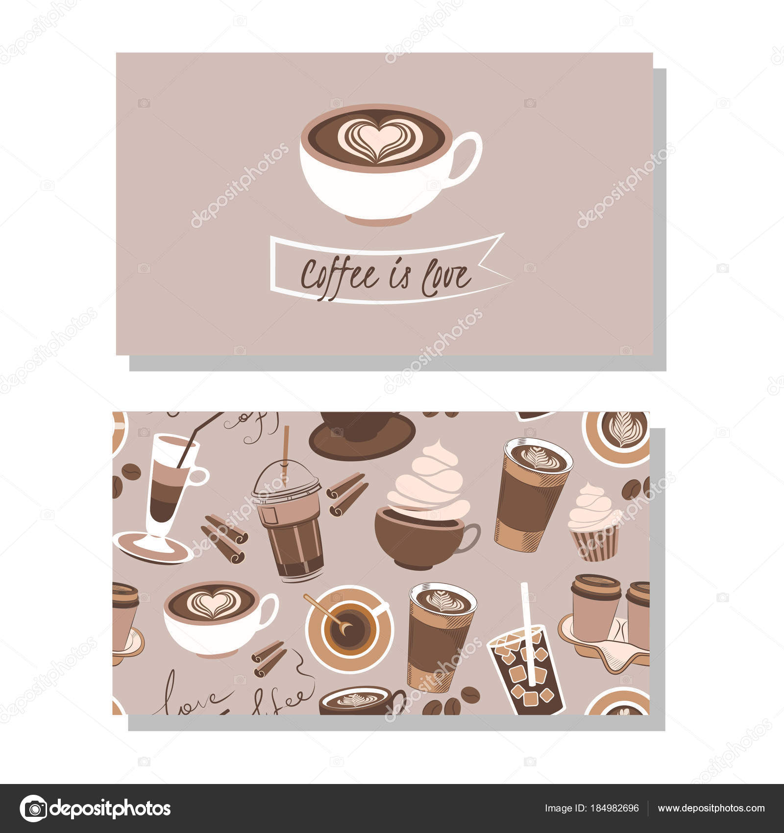 Business Card Coffee Shop Logotype Seamless Pattern — Stock Vector ...