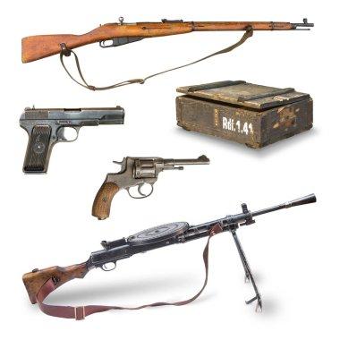 Antique weapons during World War II. pistols, rifles, machine guns, revolver, ammunition box. stock vector