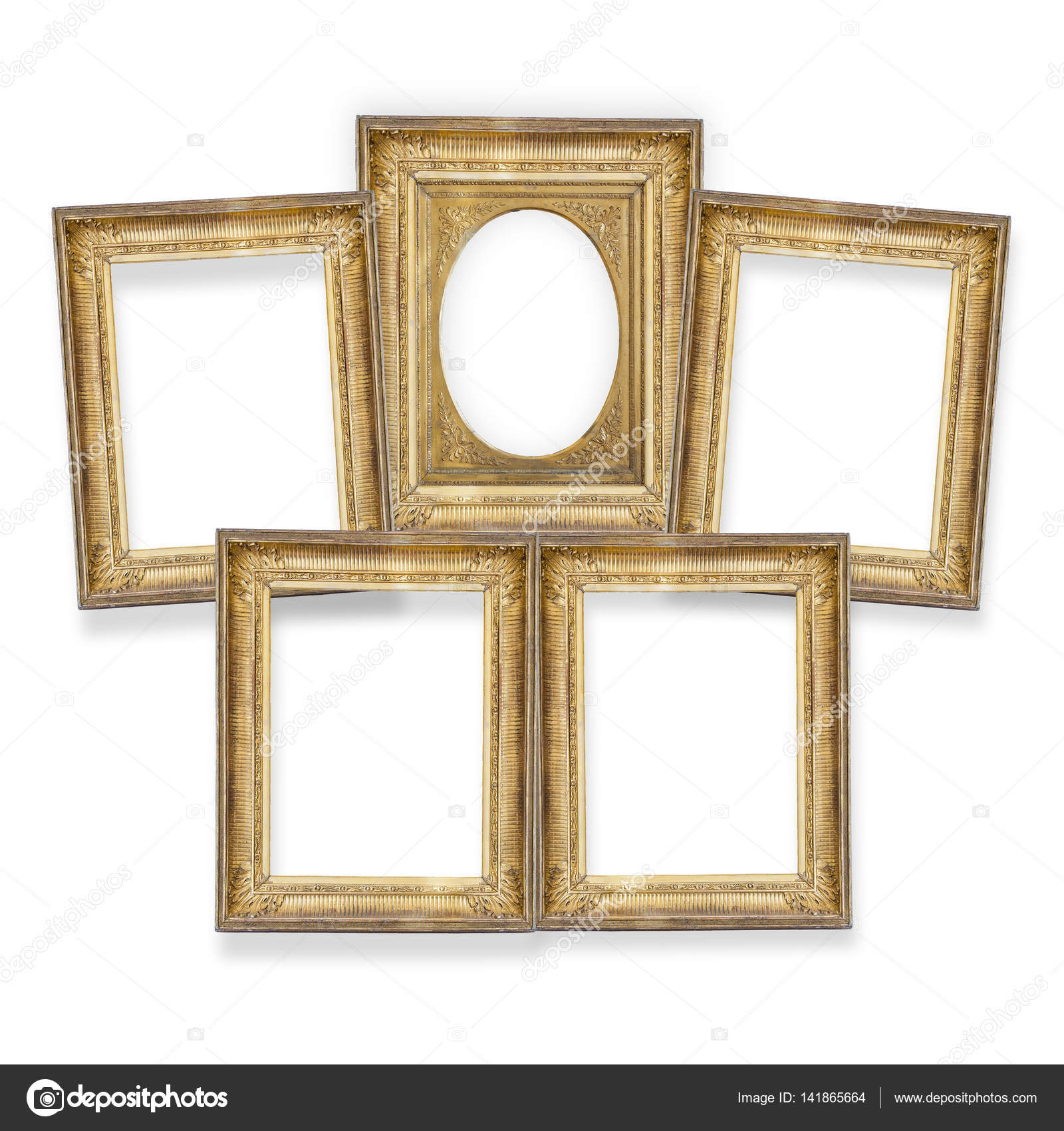 five gilded frames isolated — Stock Photo © gurkoao #141865664