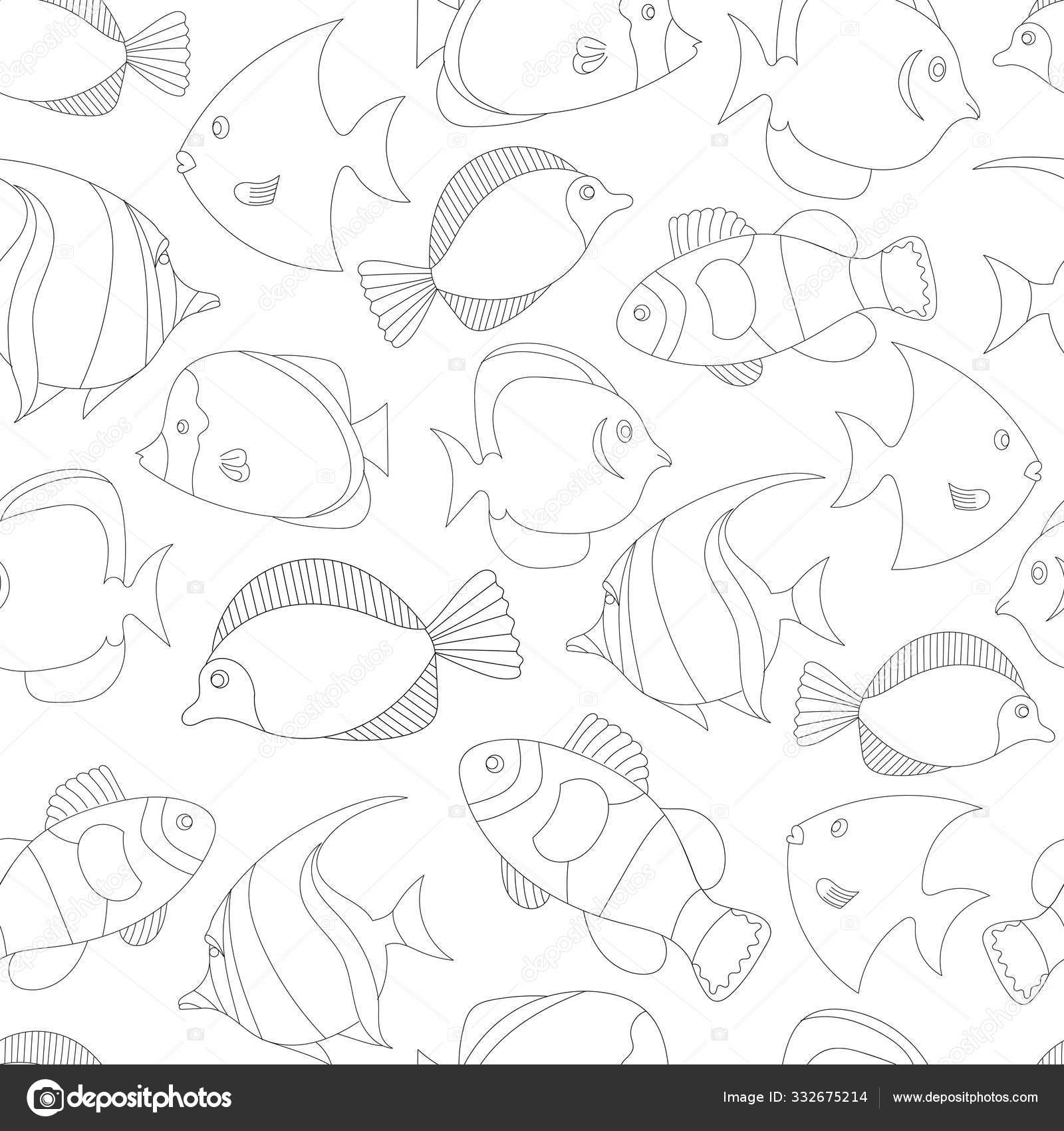Seamless Pattern With Black And White Tropical Fish Exotic Fish Coloring Book Page For Adult And Cids Monochrome Hand Drawn Line Work Vector Illustration Suitable For Wrapping Paper And Clothing Vector