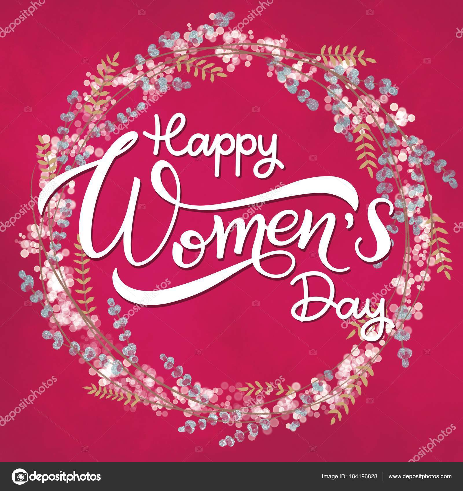Happy Womens Day Greeting Cards 8 March Lettering With Flowers