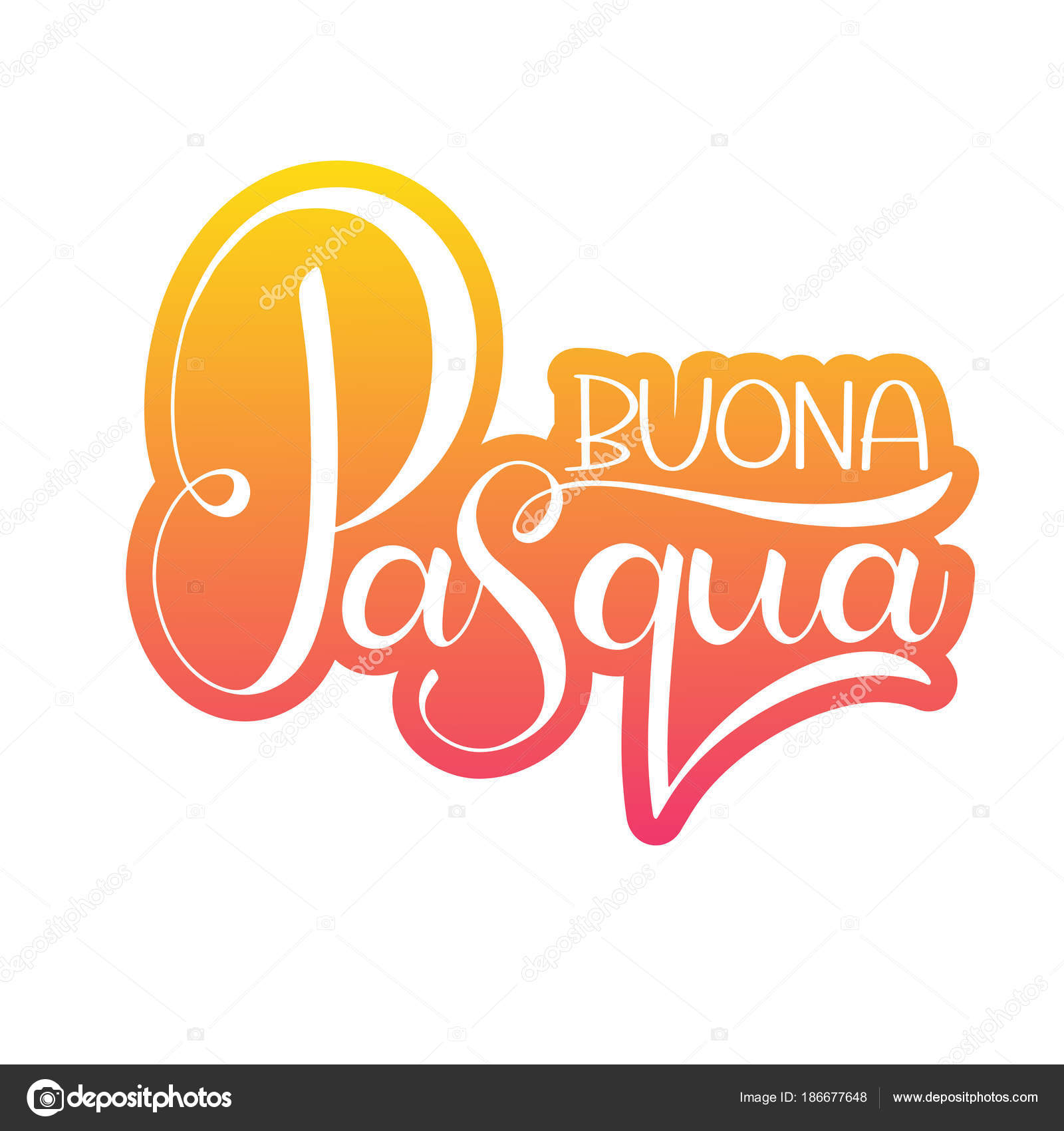 Happy Easter Colorful Lettering In Italian Stock Vector Kandella
