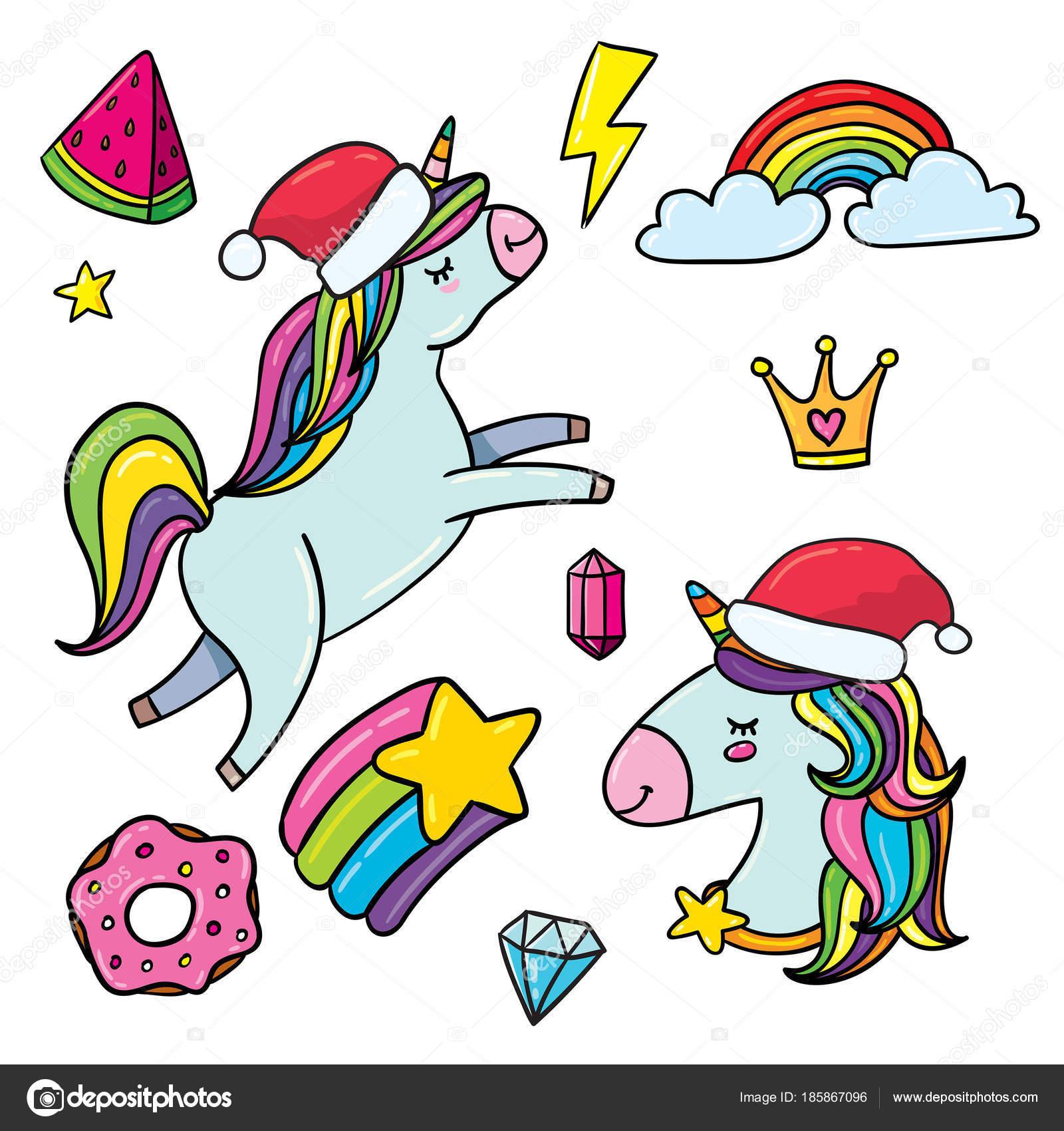サンタの帽子とかわいい漫画ユニコーン アイコンのベクター イラスト