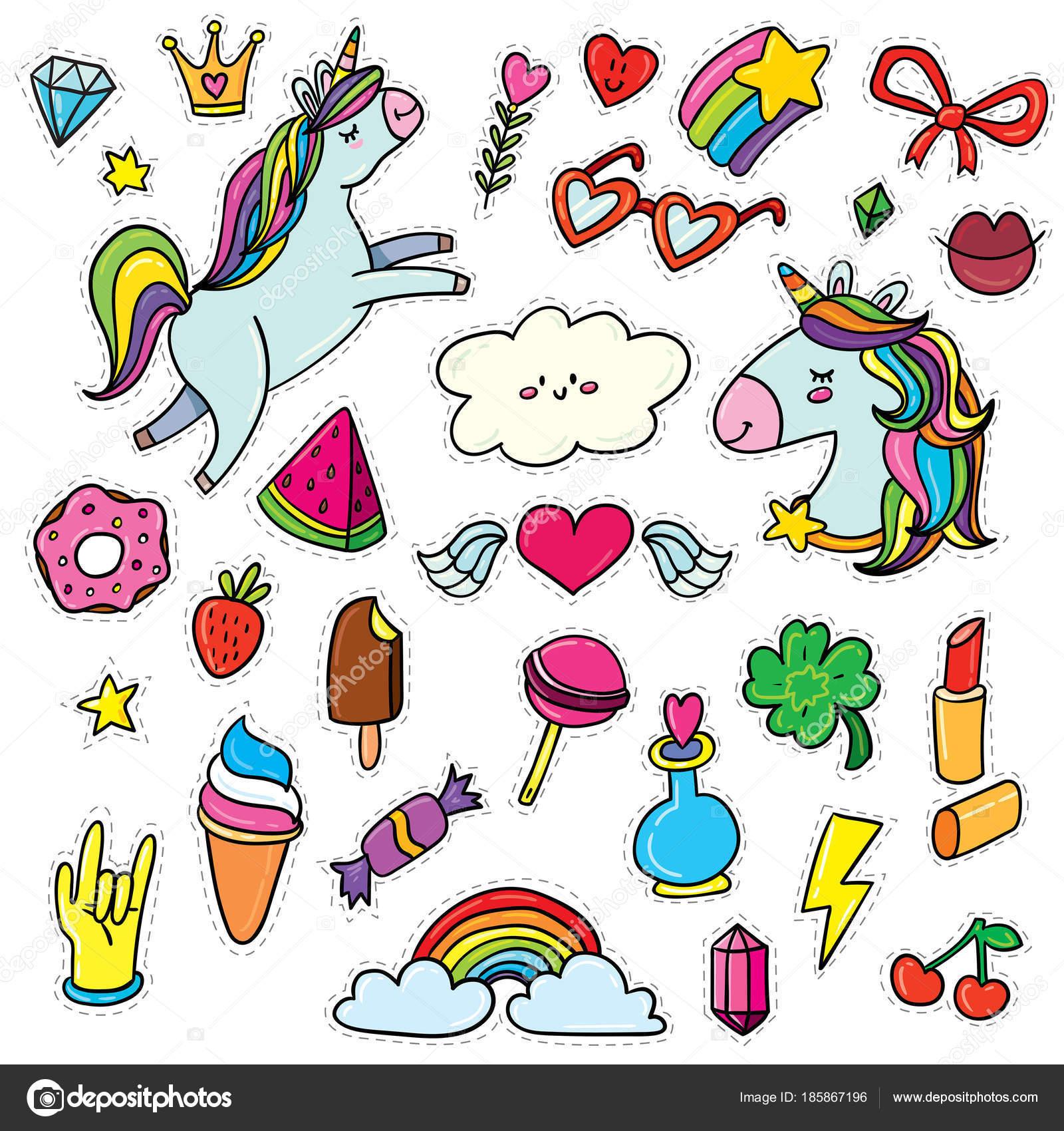 かわいいユニコーンと漫画のアイコンのベクトル イラスト デザイン