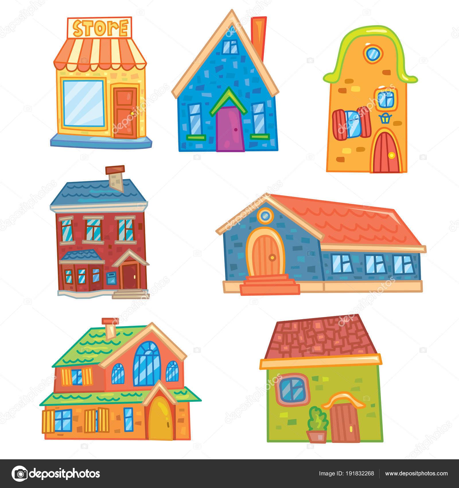 Imágenes Casas Dibujadas A Color Conjunto Dibujos Animados Vector