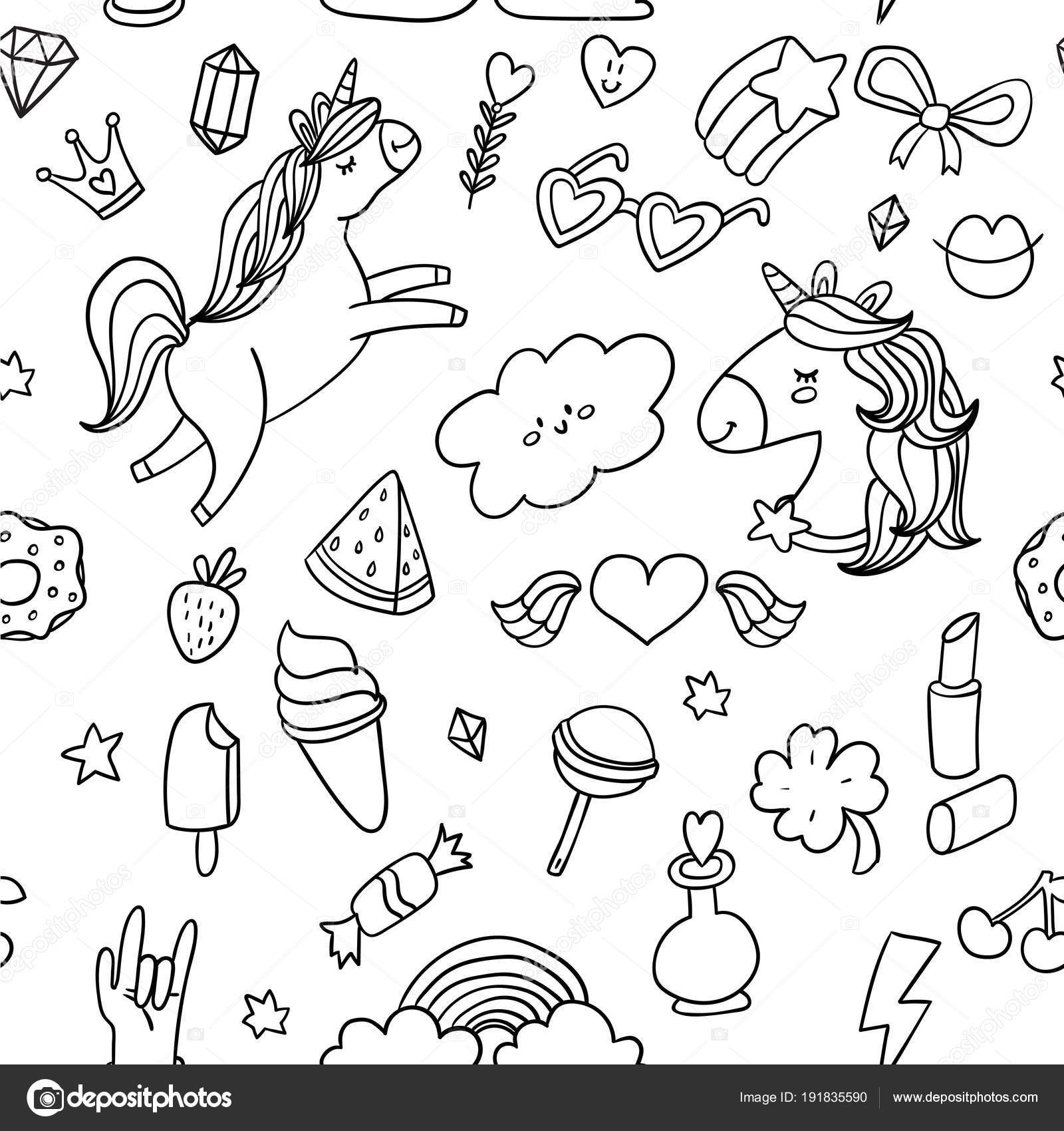 Cute Sketch Doodle Style Stickers Set Vector Illustration ...