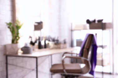 Blurred view of hairdresser's workplace in salon