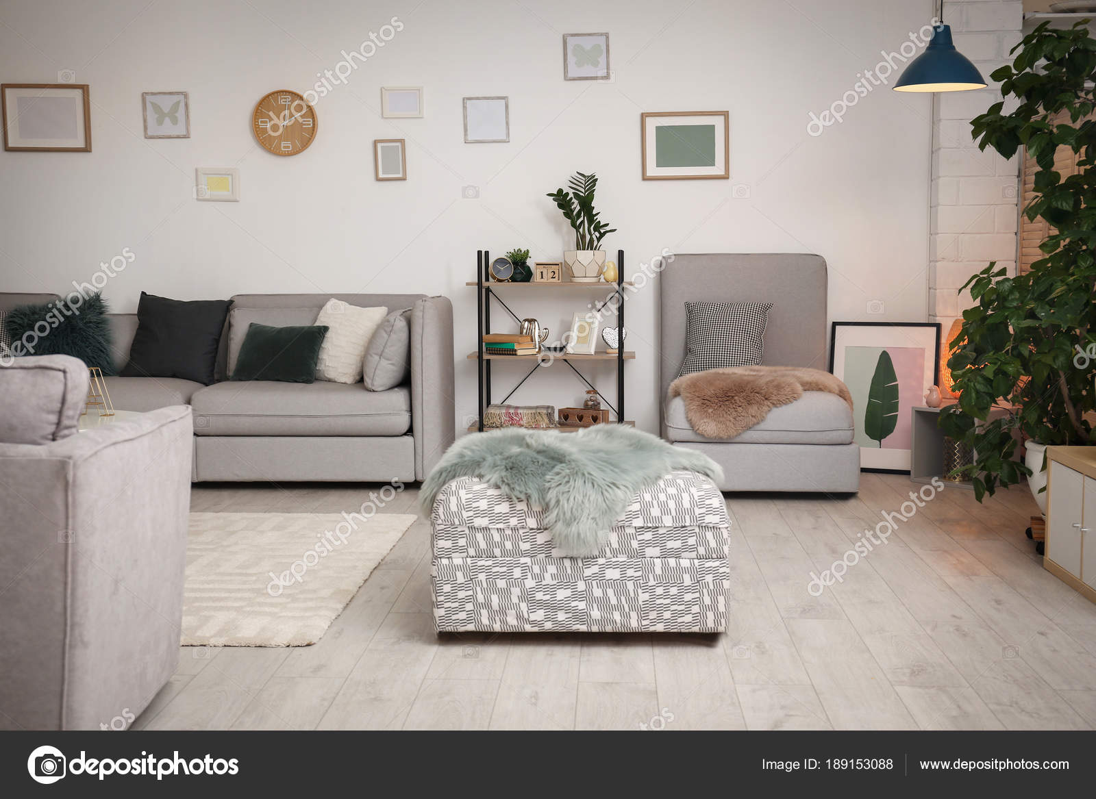 Modern Living Room Interior With Comfortable Sofa And