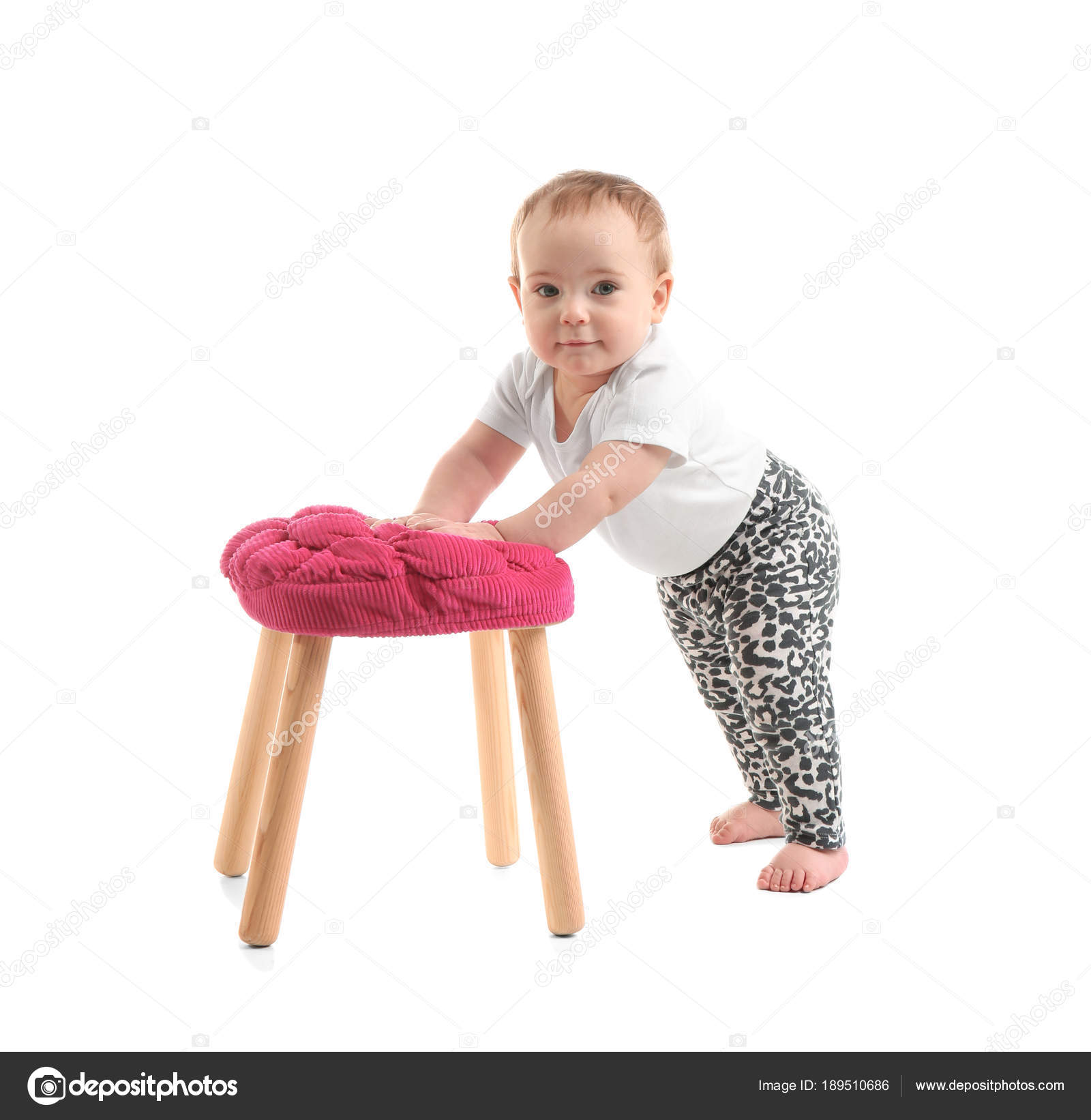 Cute Baby Holding On To Stool White Background Learning Walk Stock Photo Image By C Newafrica 189510686