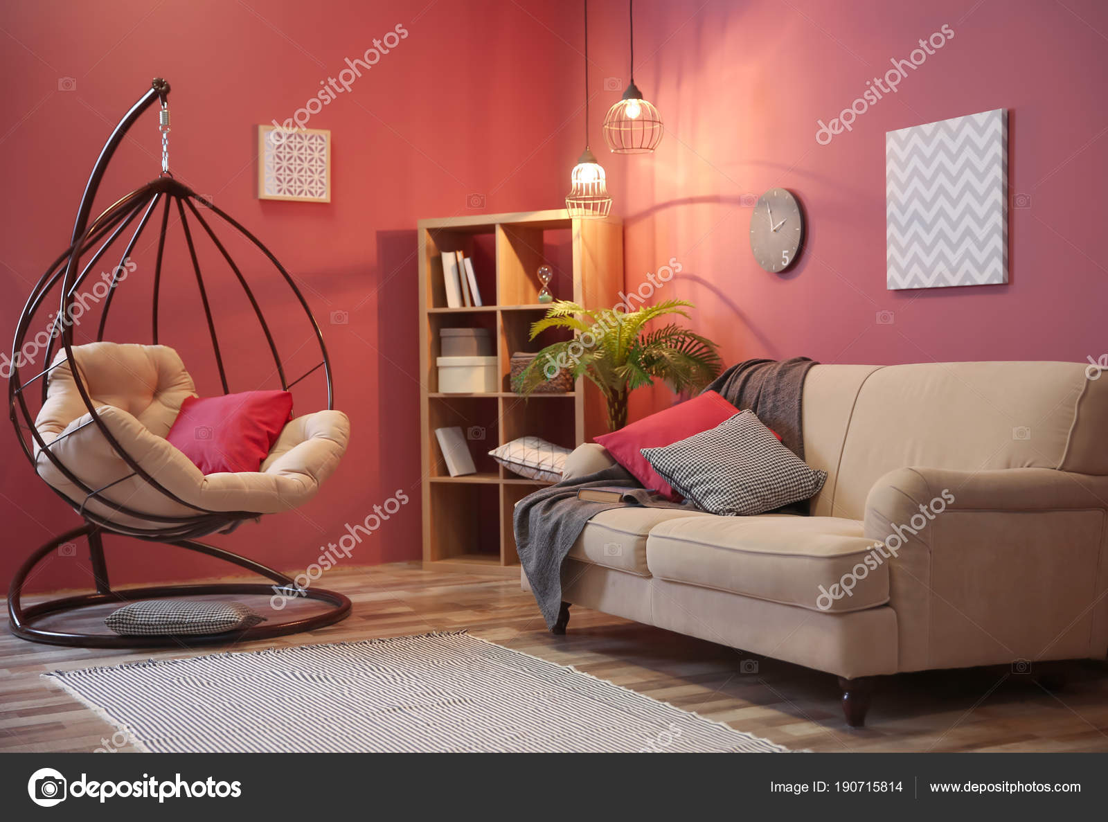 Elegant Living Room Interior With Comfortable Sofa And Swing Chair Stock Photo Image By Newafrica 190715814