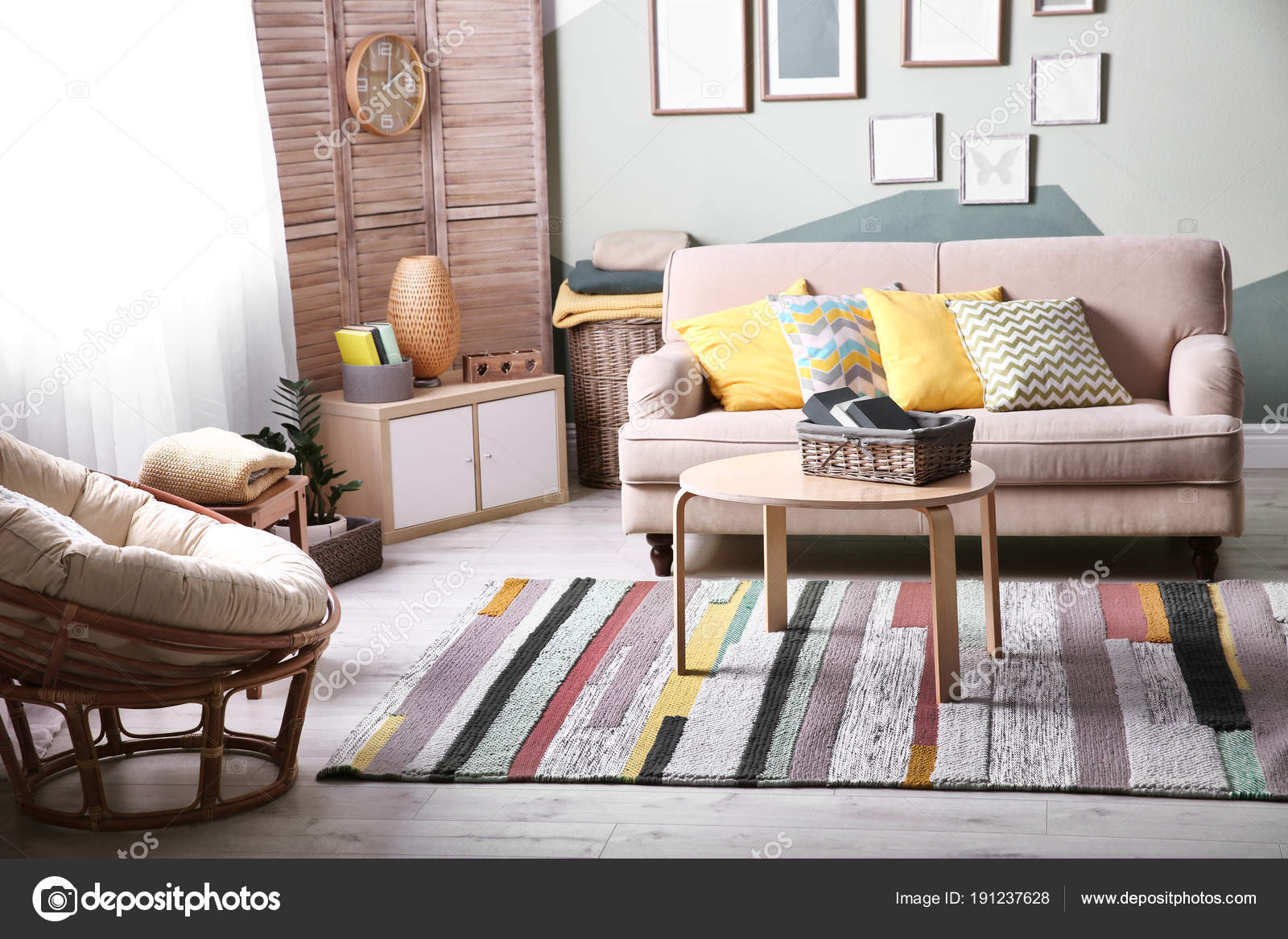 stylish living room comfortable. Stylish Living Room Interior With Comfortable Sofa And Small Table \u2014 Stock Photo T