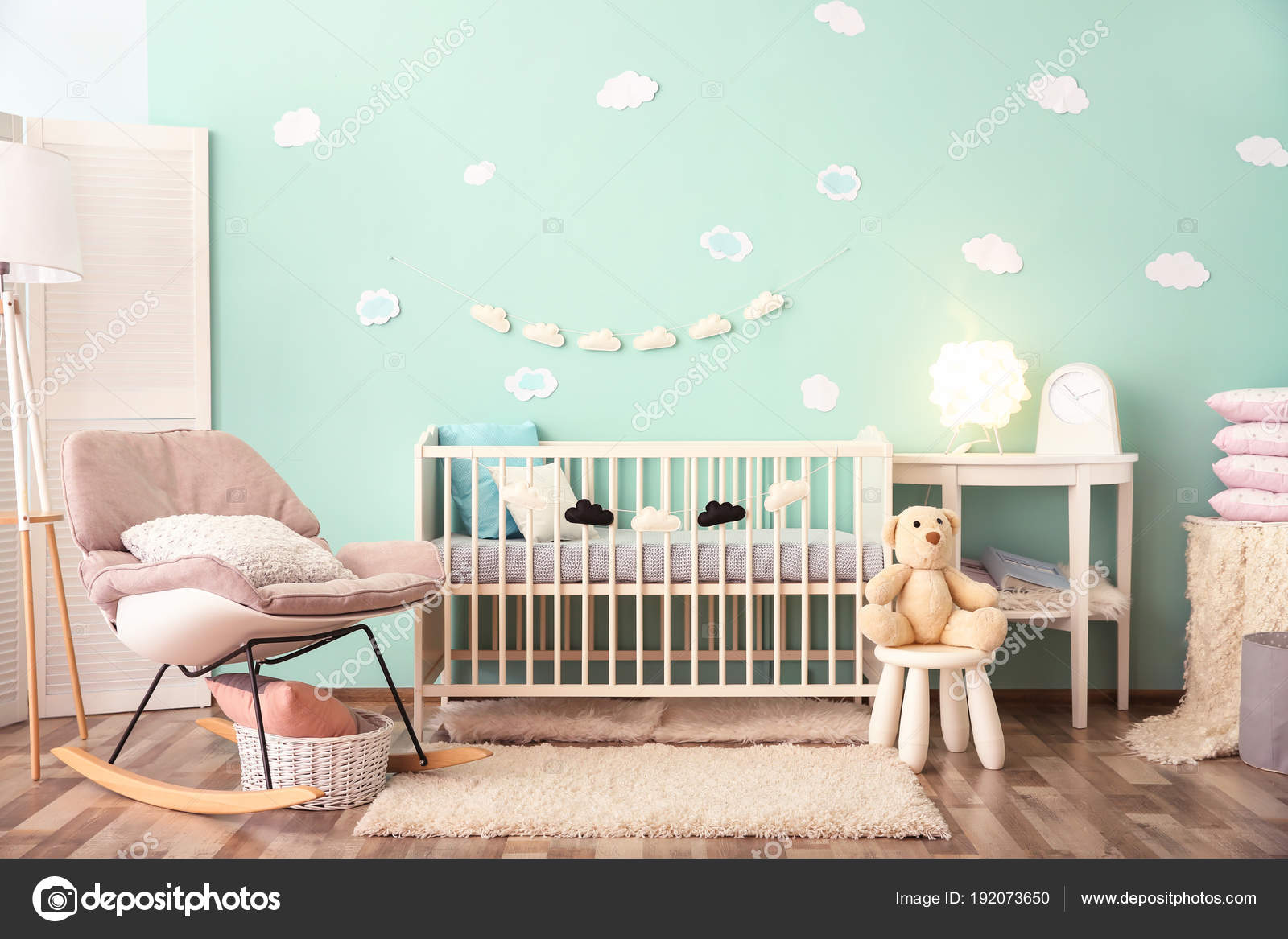 Modern baby room interior with crib and rocking chair 23
