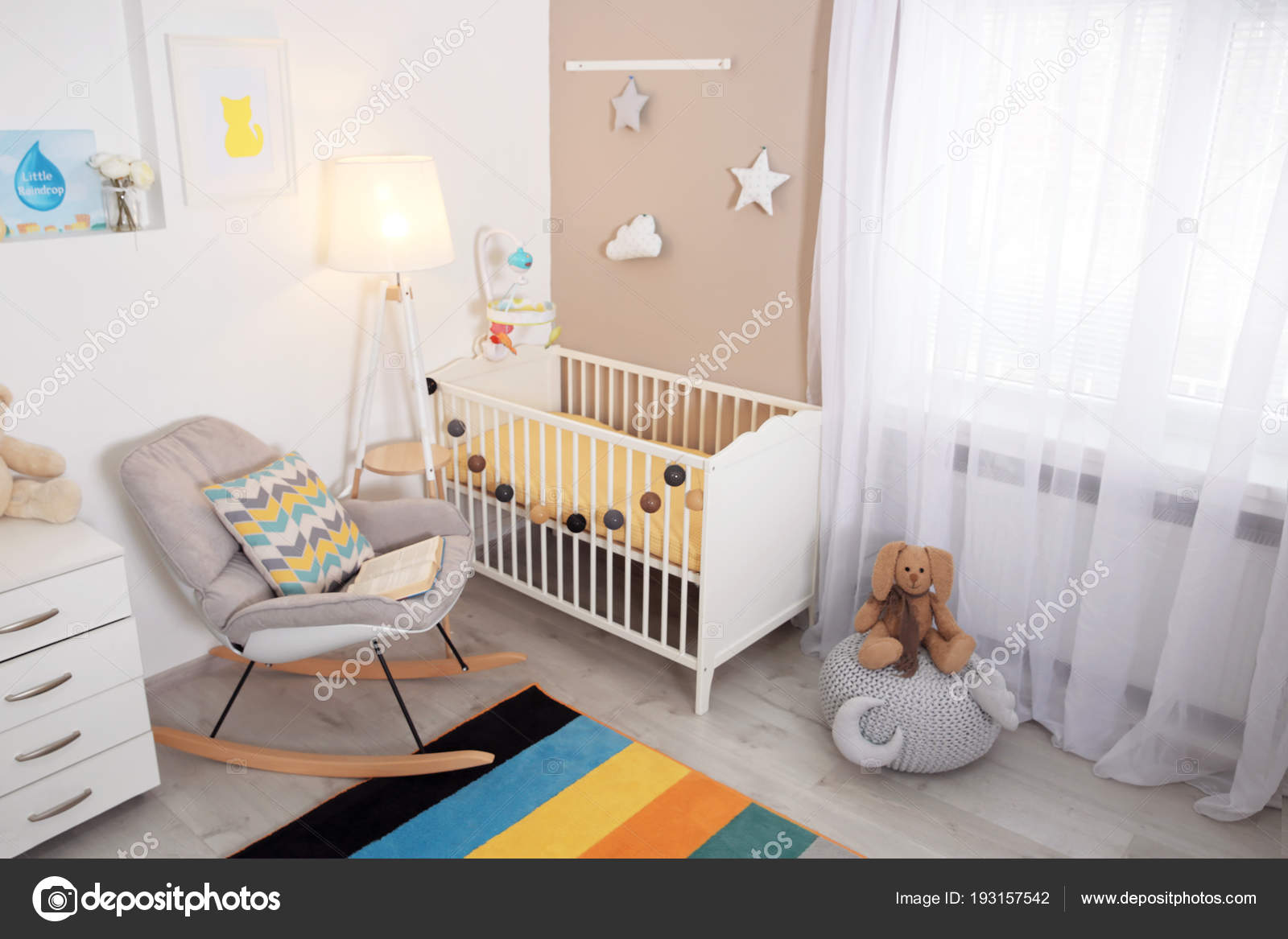 Cozy baby room interior with crib and rocking chair 23
