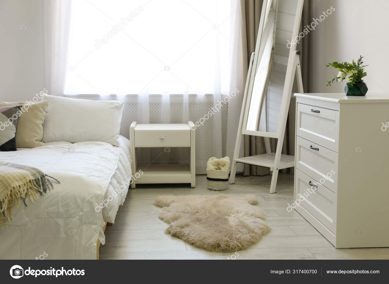 Bedroom Interior With Modern Chest Of Drawers And Mirror Stock Photo C Liudmilachernetska Gmail Com 317400700