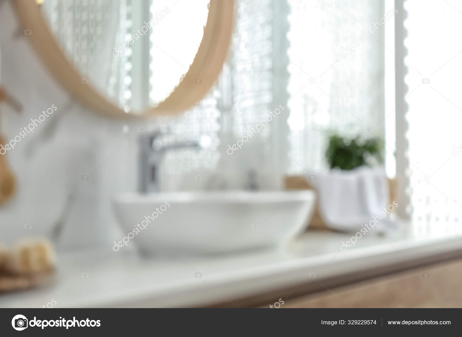 Blurred View Stylish Modern Bathroom Vessel Sink Stock Photo Image By C Newafrica 329229574