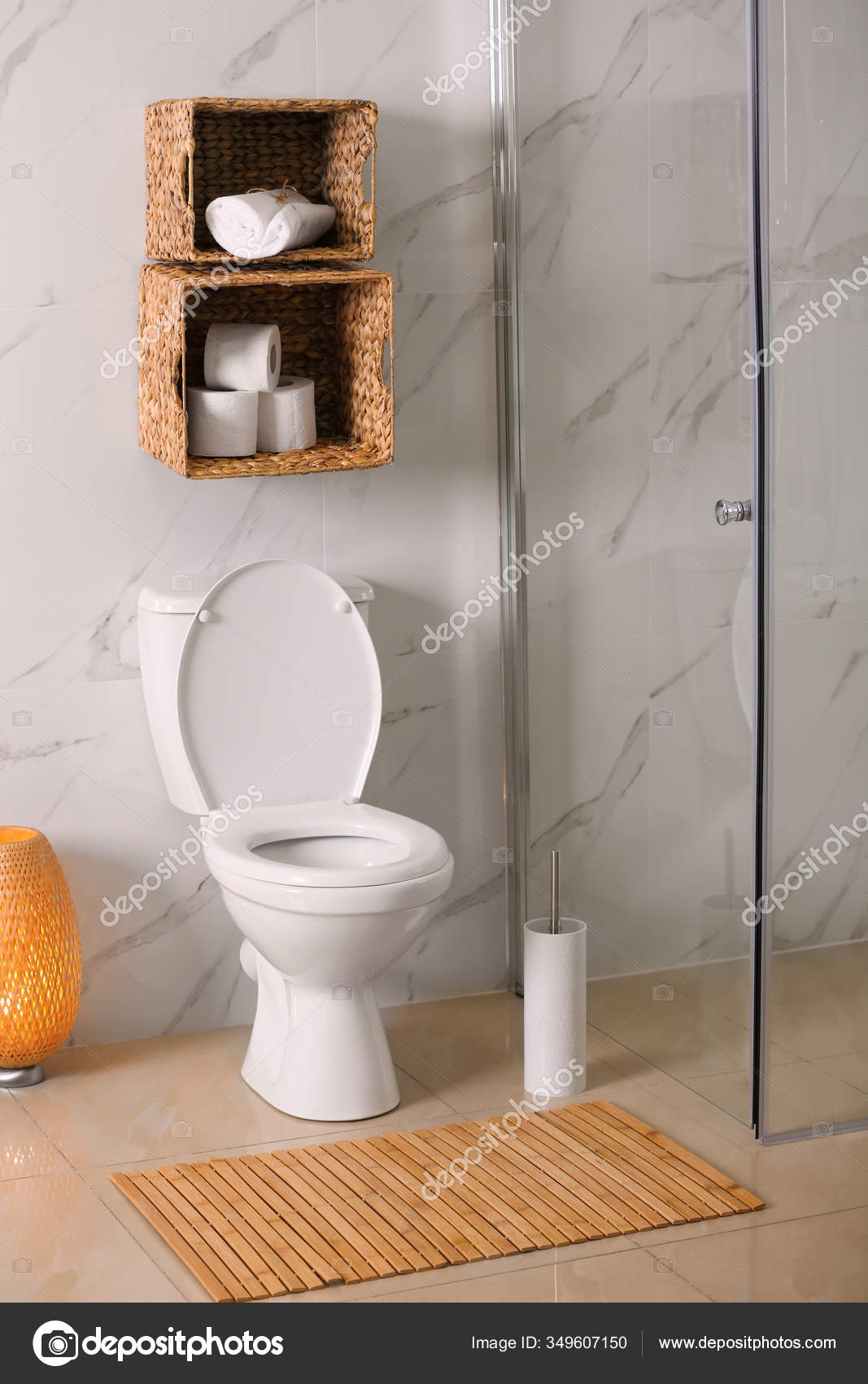 White Toilet Bowl Marble Wall Bathroom Stock Photo C Liudmilachernetska Gmail Com 349607150