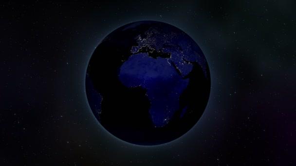 earth spinning at night