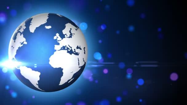 afbeelding van de wereldbol en verlichting — Stockvideo © bonagilisi ...